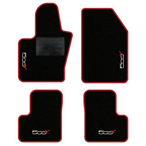 QUEMAR Kit Tappetini Auto per Fiat 500X / Set di Tappeti in Moquette e Gomma su Misura (2 Anteriori + 2 Posteriori) / 4 Ricami Personalizzati/Colori Personalizzabili (Bordo Rosso)