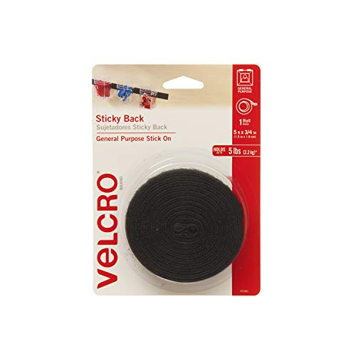 VELCRO Brand 5 Ft x 3/4 In | Black Tape Roll with Adhesive | Cut Strips to Length | Sticky Back Hook and Loop Fasteners | Perfect for Home, Office or Classroom