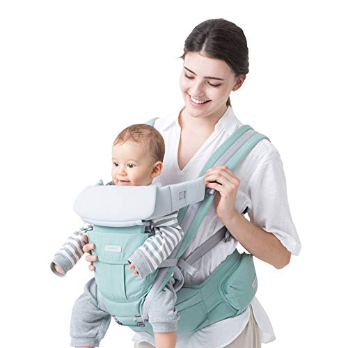 Maydolly Portabebés con asiento de cadera 3 en 1 portabebés para bebés y niños pequeños, de 3 meses a 16 kg, verde menta
