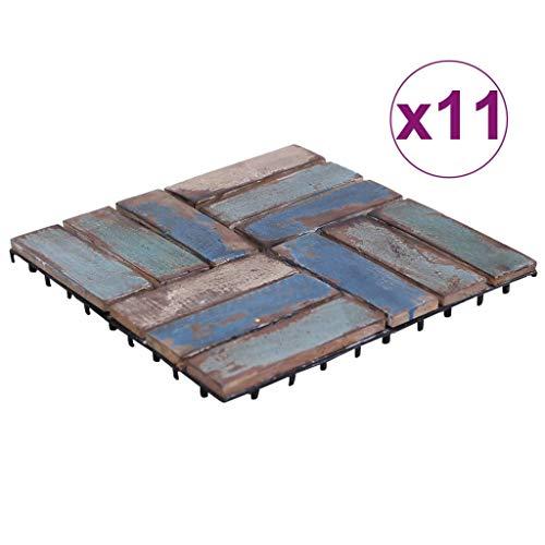 Goliraya Baldosas de Terraza Baldosas Cuadradas para Suelos de Exterior Suelo para Exterior 11 uds Madera Maciza Reciclada Multicolor 30x30 cm