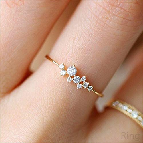 Simple 18k Gold Color Rings for Teen Girls Class Heart White Sapphire Studded Eternity Wedding Ring 925 Sterling Silver Engagement Stackable Diamond Rings Women Fashion Jewelry(Gold,7)