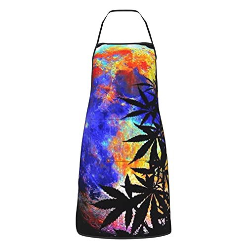 Delantal de cocina para mujeres hombres con bolsillos marihuana hoja de cáñamo luna delantales chef cocina hornada barbacoa parrilla pintura negro