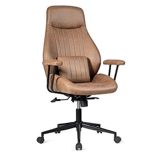 Giantex Ergonomic Office Chair, Suede Leather Office Chair w/Lumbar Cushion, High Back Computer Desk Chair with Removable Padded Armrest for Executive Home Office, Executive Chair (Brown)