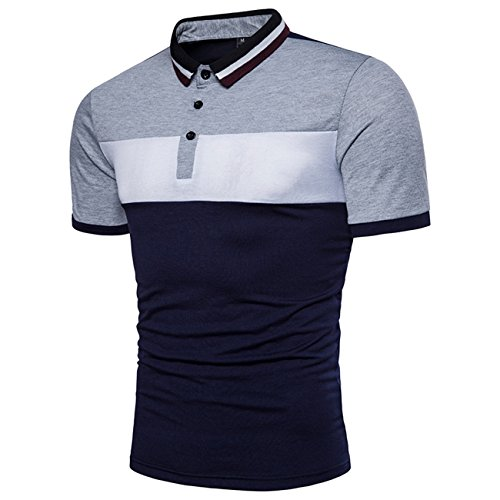 Herren Multi-Color Splice Dynamic Kragen Dekoration Freizeit Kurzarm-Polo-Shirt(XL,hellgrau)