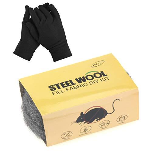 AZSSMUK Steel Wool Fill Fabric DIY Kit Gap Blocker Coarse Wire Steel Wool Hardware Cloth Steel Wire Wool for Garage/Wall Cracks/Holes Vents 1PC