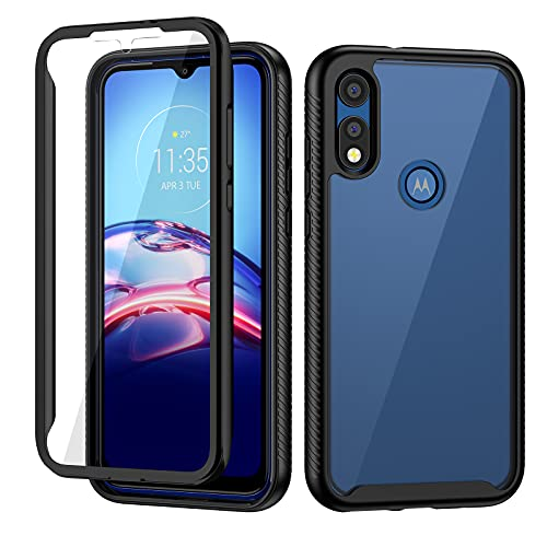 seacosmo Moto E Phone Case, Full Body Shockproof Cover [with Built-in Screen Protector] Slim Fit Bumper Protective Case for Motorola E Phone 2020- Black/Clear