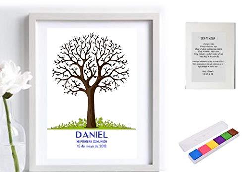 Didart Handmade Cuadro de árbol de huellas personalizado para cumpleaños, Comuniones, Bautizos. Varios tamaños y colores de marco.Tintas e instrucciones incluidas. Libro de invitados