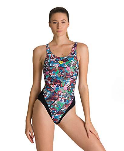 ARENA W Swim Tech Back One Piece Bañador Deportivo Mujer Kun Map, Black-Multi, 40