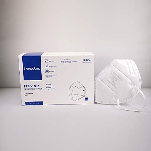 FFP2 Maske in Deutschland hergestellt - Zertifizierte Atemschutzmaske mit 97% Filterwirkung – EN 149 geprüft, 4-lagig, kein KN95-25 Stück