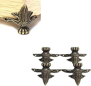 Hrph Joyería de latón Regalo Antiguo de la Caja de la Caja de Madera Pies Decorativos de la Pierna Protector de la Esquina