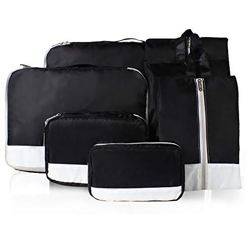 YAzNdom Bolsas de Compresión de Equipaje Sistema De Empaque Cubo Durable 7 Conjunto Weekender Equipaje Organizador Juego De Zapatas De Bolsas Adecuado para Viajar (Color : Black)