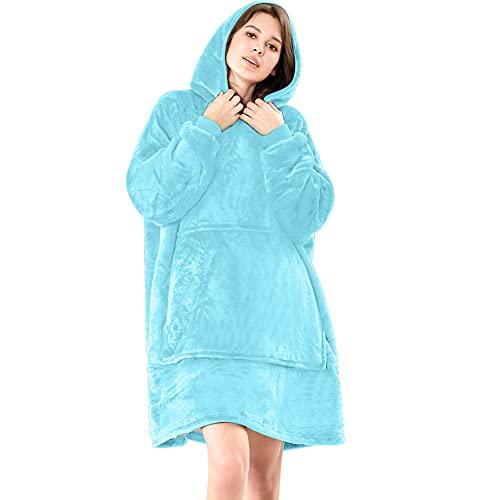Lushforest Hoodie Sweatshirt, Damen Kapuzenpullover, Riesen-Sweatshirt, Super weich und bequem, Geeignet für Erwachsene, Männer, Frauen, Jugendliche (Hellblau)