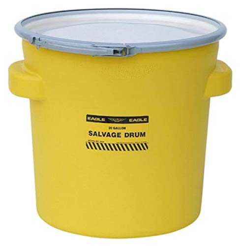 Eagle 1654 Yellow Blow-Molded HDPE Salvage Drum with Metal Ring Lever-Lock Lid, 20 gallon Capacity, 21' Height, 21' Diameter