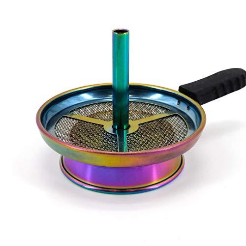 Cyborg Hookah Kaminaufsatz Rainbow mit Haltegriff - Edelstahl in Regenbogenoptik - V2A Edelstahl für Naturkohle Edles Shisha Zubehör