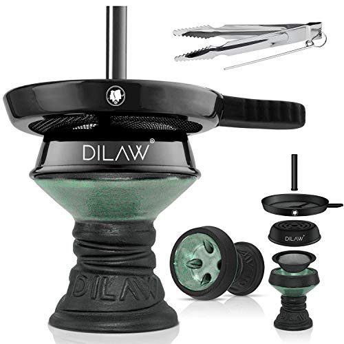 DILAW® Shisha Steinkopf Set Kaminkopf Big Tabaksieb Kohlezange Kaminaufsatz Tabak Kopf, Farbe:Grün