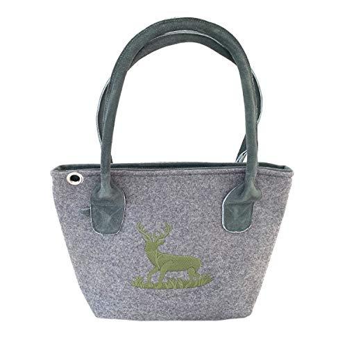 Graue Trachten-Handtasche Dirndltasche aus Filz mit Wild-Leder und grüner Stickerei Hirsch