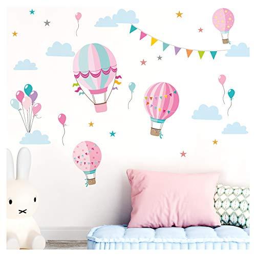 Little Deco sticker kinderkamer meisjes heteluchtballonnen roze II muurschilderingen muurtattoo wolken ballonnen deco meisjeskamer sticker DL373 M - 140 x 86 cm (BxH)
