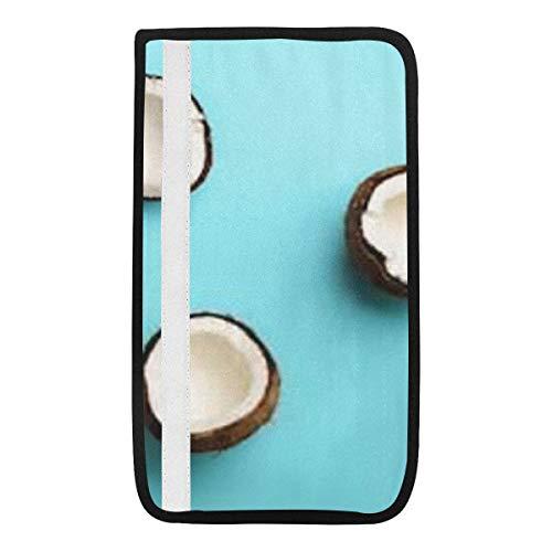 Universal Car Seat Belt Pads Cover, Muster reife Kokosnüsse auf blauem Hintergrund Sicherheitsgurt Schultergurtbezüge, weicher Komfort hilft, Sie Hals und zu schützen