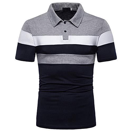 Polo Shirt Hombre Verano Slim Fit Hombre Deportiva Camisa Color Contraste Empalme Manga Corta Correr Shirt Básica Elástica Shirt Negocios Casual Golf Cuello Kent Camisa I-Gray2 XXL
