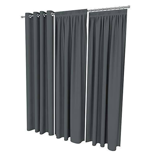 ALOHA Vorhänge Vorhang Elegant Hochwertig Gardine für Schlafzimmer, Wohnzimmer Uni einfarbig Farbe und Größe wählbar (Graphit/mit Kräuselband / 135cm x 215cm / 2er Set)