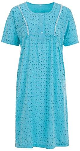 Zeitlos Lucky Nachthemd Damen Kurzarm Schmetterling Spitze Knöpfe, Farbe:türkis, Größe:L