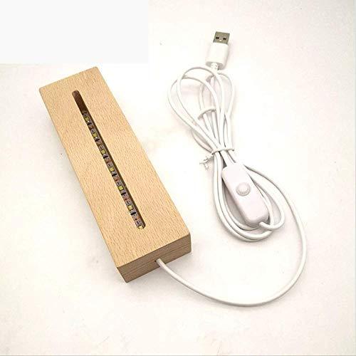 Tafellampen ZWRY Houten Led-lampvoet USB-kabelschakelaar Modern Nachtlicht Acryl 3D Led-nachtlamp Gemonteerde voet 15 * 12 * 4,5 cm Warm wit