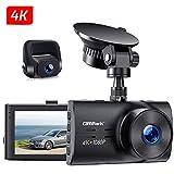 Campark Dual Echte 4K Dashcam vorne und Hinten, 3' Autokamera mit 300° Weitwinkelobjektiv, Bewegungserkennung, Parküberwachung, Dual Dashcam mit Loopfunktion, G-Sensor und WDR Nachtsicht, Max. 256GB