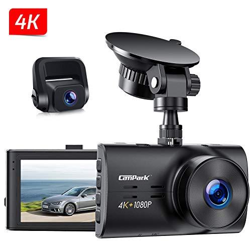 """Campark Dual Echte 4K Dashcam vorne und Hinten, 3"""" Autokamera mit 300° Weitwinkelobjektiv, Bewegungserkennung, Parküberwachung, Dual Dashcam mit Loopfunktion, G-Sensor und WDR Nachtsicht, Max. 256GB"""