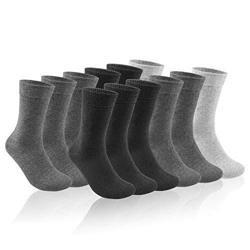 QINCAO Socken Herren Damen 12 Paar Sport Schwarz Baumwolle Lange Komfortbund Socks(Dunkelgrau ×5+Hellgrau ×2 +Schwarz ×5, 43-46)