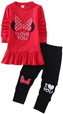 Cute Little Toddler Girls Clothes Set Long Sleeve T Shirt and Pants Kids 2pcs Outfits 4 5T Red product image