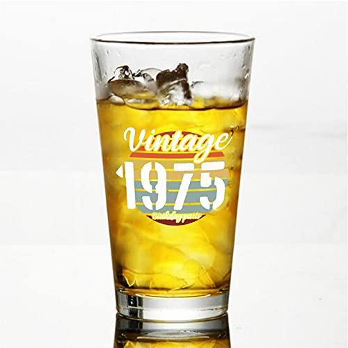 Vintage 1975 piezas de cumpleaños artesanales vasos de cerveza personalizados, vaso de cerveza de pinta de 16 onzas ideas para crismas,día de Acción de Gracias, papá, mamá, marido, esposa, padre...