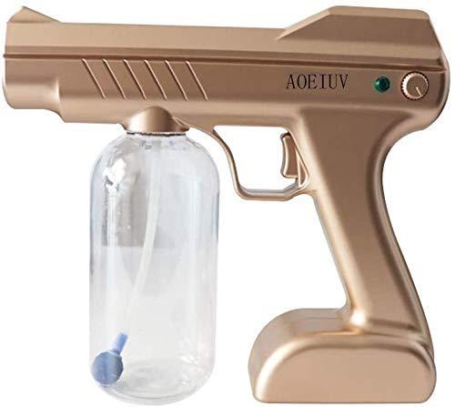 Qiutianchen Handheld Ulv-Sprüher-elektrischer Ulv-Rauch-Desinfektions-Sprühpistole Zerstäuber tragbarer Innen-Nano-Sterilisationsbefeuchter Zerstäuber (Color : Gold)