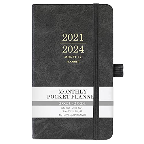 """Monthly Planner 2021-2024 - Monthly Pocket Planner from Jul 2021 - Jun 2024 with Pen Holder, Inner Pocket and 63 Notes Pages, 3.8"""" x 6.3"""""""
