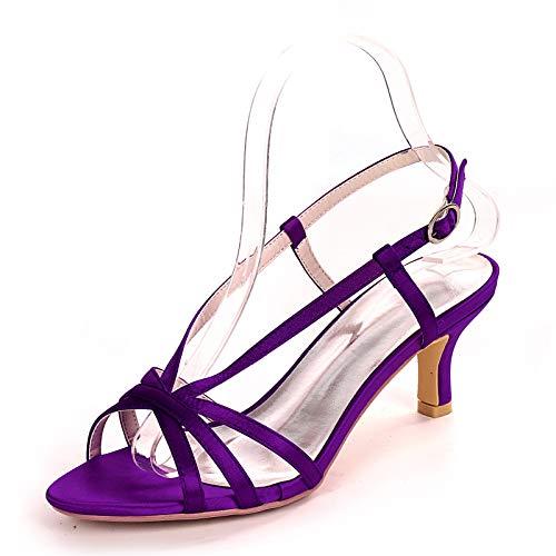 QXue Zapatos de novia para boda, sandalias marfil, con tacón de estrás,...