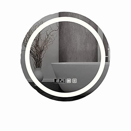 Espejos de baño redondos con luz LED + antivaho + botón de memoria antivaho de dos colores a prueba de agua (tamaño: 60 cm)