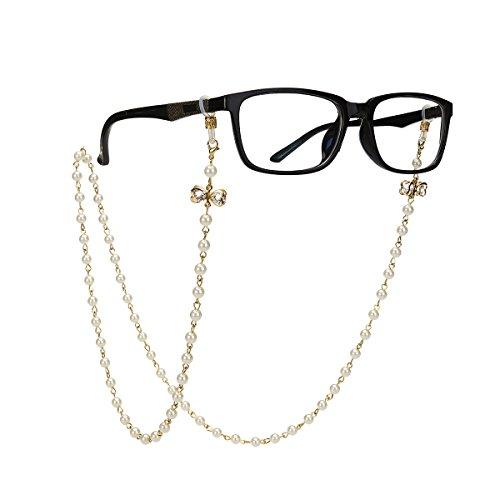 Tinksky Tinksky Brillenkette mit Bowknot Imitation Perlen Gläser Strap Cords Sunglass Holder Lanyard Halskette Brillen Halter Hals Cord Strap