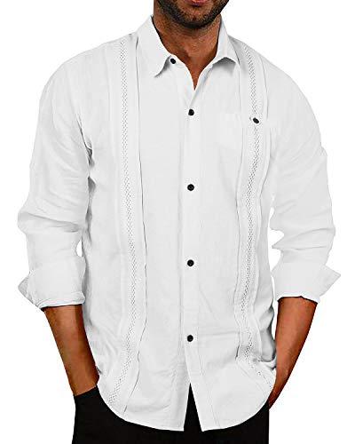 Mensleben Hemd Herren Langarm Leinenhemd Cuban Guayabera Freizeithemd Urlaub Sommer Hemd Strandhemd Regular Fit line Shirt