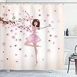 ABAKUHAUS Ballett Duschvorhang, Ballerina-Mädchen-Kirschblüte-Baum, mit 12 Ringe Set Wasserdicht Stielvoll Modern Farbfest & Schimmel Resistent, 175x180 cm, Heller Pfirsich Puder Rosa