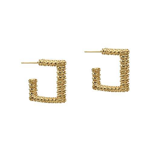 Chapado en oro real 925 aguja de plata geométrica pendientes de aro de oreja cuadrada temperamento moda pendientes simples mujeres