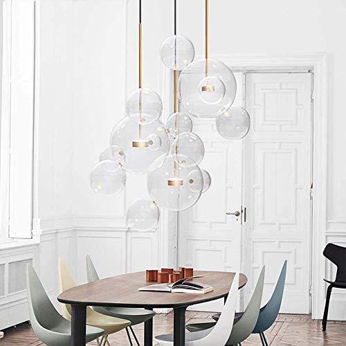 WSJTT Calefactor Candelabro Bubble Glass Ball Slice Chandelier Sala de Estar Restaurante Hotel Candelabro de Vidrio Creativo Moderno Simple Peque?o 14 Ball 3 * LED