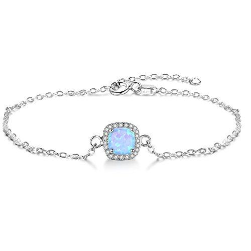 YAZLIND S925 Pulsera de Plata de Ley Ajustable Moda Simple Estilo Cuadrado incrustado Cristal Opal Pulsera de Piedra para Mujeres niñas