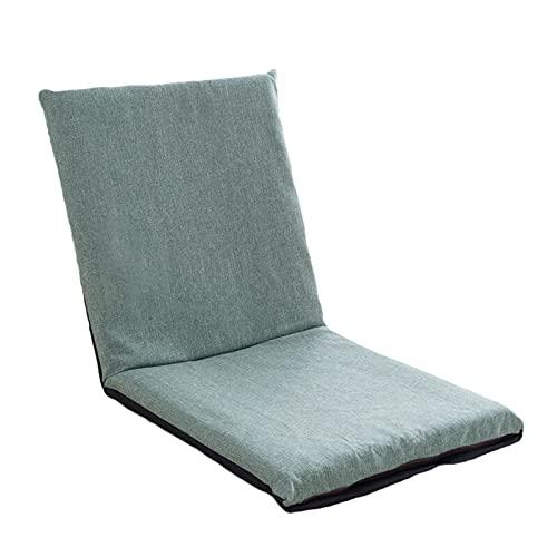 Golvstol Vikbar meditationssittning, vadderad spelstol, lat soffa justerbar hög rygg soffa lounge kudde vadderad vilstol,Green