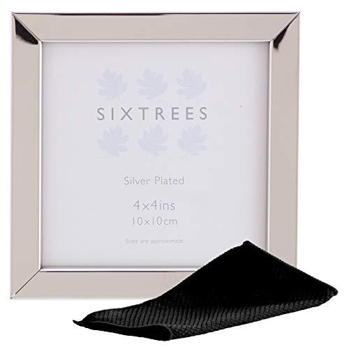 Sixtrees Elite Square Edge - Cornici portafoto placcate in argento, 102 x 102 mm, con panno in microfibra (10,2 x 10,2 cm)