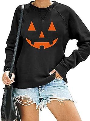 Women's Halloween Sweatshirts Pullover Crewneck Fall Shirts Casual Slouchy Pumpkin Tunic Tops (Halloween Black,XL)