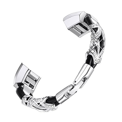 Cinturino in pelle per Fitbit Alta e Alta HR con chiusura in acciaio inox, cinturino in pelle