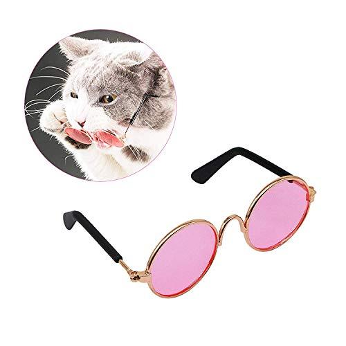 QNMM Haustier-Sonnenbrille, Klassische Retro-Rundschreiben-Metallprinz-Sonnenbrille für Katzen oder kleine Hundemode-Kostüm-Foto-Props-Spielzeug,Pink