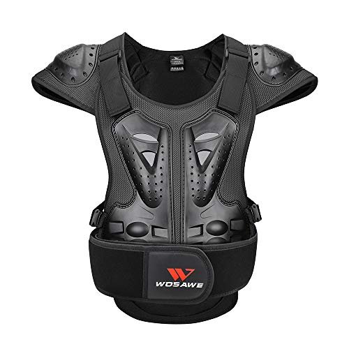 WOSAWE Adults Motorcycle Body Armor ATV Protective Vest Dirtbike Chest Back Protector, Large Black