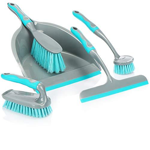 com-four® 5-teiliges Reinigungs-Set, Handfeger, Kehrschaufel, Handbürste, Spülbürste und Fensterabzieher, perfektes Reinigungs-Starterset (türkis-dunkelgrau)