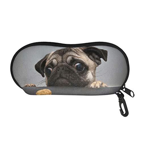 Tupalatus Lovely Pug Dog Print Eyeglass Case Ultra Light Neoprene Zipper Multi-use Travel Running Sunglasses Soft Case Eyeglasses, Cosmetics, Cell Phone, Cards, Pens, Keys Storage Pouch