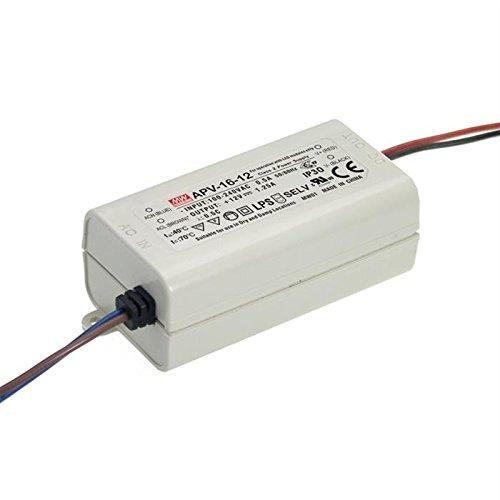 MeanWell, APV-16-12, LED-Trafo, Konstantspannung 15W 0-1,25A 12 V/DC nicht dimmbar, Überlastschutz